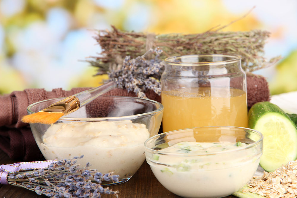 homemade-facial-masks-with-natural-ingredients-on-color-wooden-table-on-bright-background